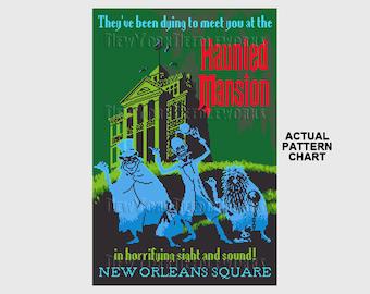 Haunted Mansion DL Cross Stitch, Disneyland Poster, DL Poster, Haunted Mansion, Vintage Disney, Cross Stitch, Needlepoint NewYorkNeedleworks