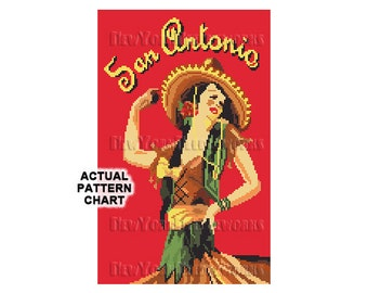 San Antonio Dancer, Flamenco Dancer, Retro Cross Stitch, Art Deco Cross Stitch, Texas, Dancer Cross Stitch, Dancers from NewYorkNeedleworks