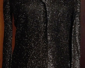Vintage Black Sparkle Shirt/Jacket Holiday Attire