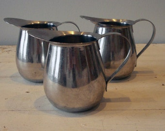 Vintage Stainless Steel Restaurantware Industrial Cream Pitchers Set of 3