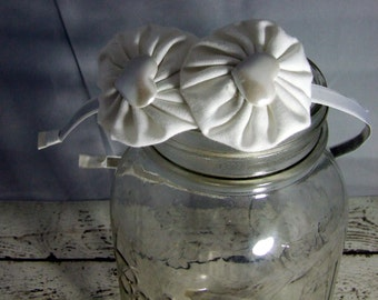 White Headband, Headband, White Fabric Headband, Fabric Headband, YoYo Flower Headband,  Satin Lined Headband, Girls Headband