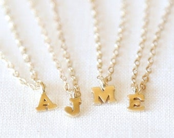 Tiny Gold Initial Necklace - Personalized Everyday Gold Jewelry - on 14K gold filled chain - As seen in Glamour Magazine