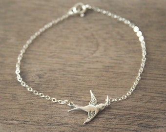 Sterling Swooping Bird Bracelet - simple everyday jewelry