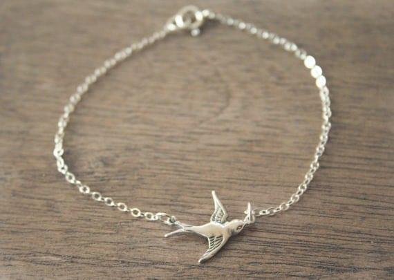 Sterling Swooping Bird Bracelet - simple everyday jewelry