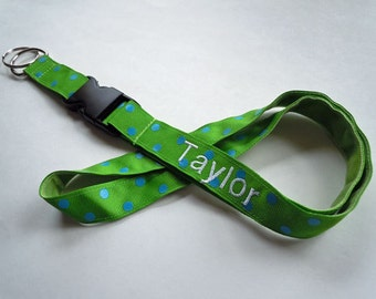 PERSONALIZED Lanyard With Detachable Key Fob in Polka Dot Print Many Colors to Choose From