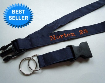 PERSONALIZED Lanyard With Detachable Key Fob YOUR NAME and Your Choice of Fun Ribbon Prints
