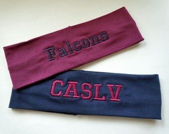 PERSONALIZED Headband Stretch Knit and FULLY CUSTOMIZABLE with your name and colors great for team sports, spirit wear you name it