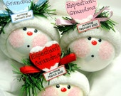 Expectant Grandma Ornament Color Choice Blue Pink Red Christmas Townsend Custom Gifts Heart Handmade Due Date Tag Sample