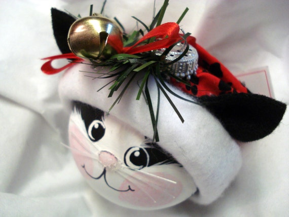 Black White Cat Christmas Ornament Hand By TownsendCustomGifts