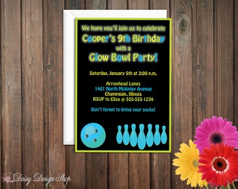 Birthday Party Invitations - Neon Bowling Ball and Pins - Set of 20 with Envelopes