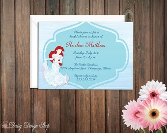 Bridal Shower Invitation - Princess Ariel Mermaid Silhouette in Damask Gown with Ocean Background