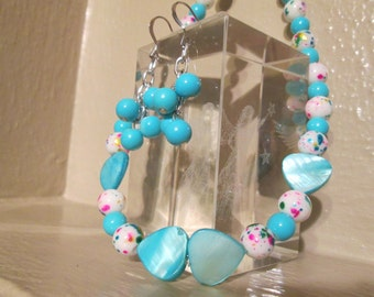 Springtime Colors Beaded Shell and Glass Necklace and Dangle Earring set