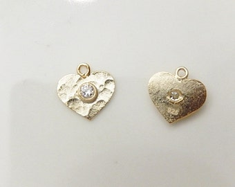 2 pcs Vermeil hammered heart  charms with cz (10x10mm),.925 stamped, gold plated over .925 sterling silver
