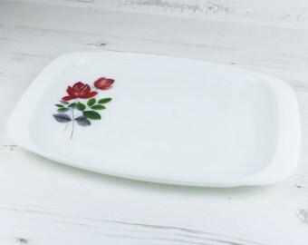 Vintage Rose Pyrex Tray - JAJ Red Kitchenware Milk Glass England