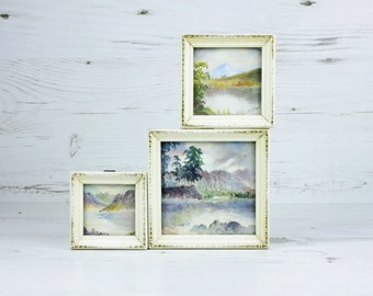 Vintage Watercolour Wall Art - Framed Rustic Mountain Lake Trees Wildlife