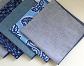 Men's Pocket Square in Navy Pin Stripe - navy blue white handkerchief wedding groomsmen pinstripe suit washable