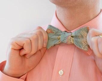 Men's Bow Tie in World Map (dark) - free style self tie bowtie groomsmen wedding ties travel world maps blue