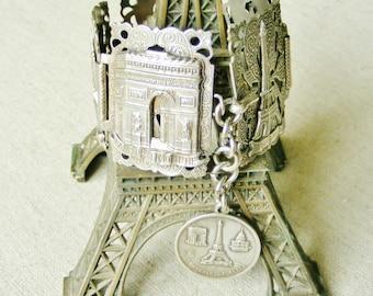 Fabulous wide Vintage French Paris silver filigree souvenir bracelet Eiffel tower