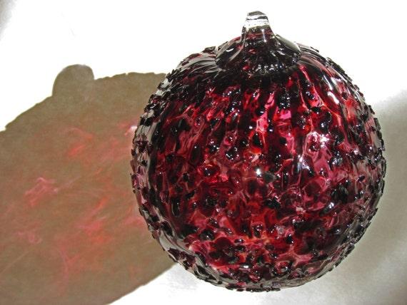 Blown glass spirit friendship witch ball dark burgundy ice