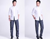 A-Block Full Detail in the  Asian Style  Narrow Ankle Men's Linen Pants with Pleats / Elastic Waist / Easy to Wear!/ 7 Colors/ RAMIES