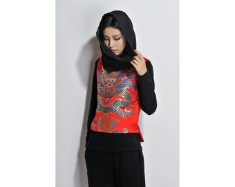 Chinese Style Exotic Vest with Light Padded Lining / Chinese Dragon Vest with Handmade Silver Buttons/ Red and Blue/ RAMIES