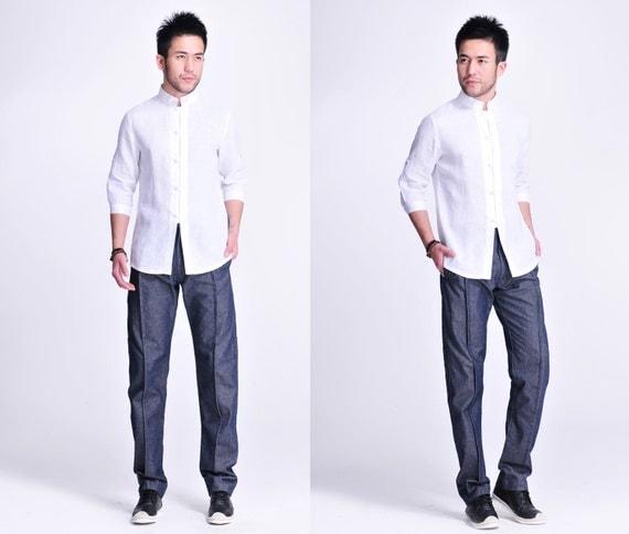 Fresh Magnolia/ Asian Style Men's linen Shirt with Peek-a boo Buttons/ 15 Colors / RAMIES U0zYRpl8