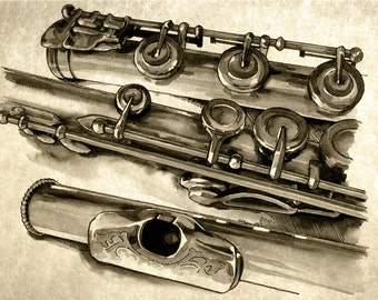 Flute - weathered print