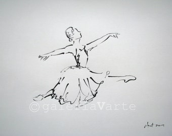 Original ink ballet drawing - Giselle - europeanstreetteam