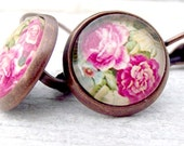 SALE. Pink rose dangle earrings. Shabby chic. Antique copper dangles. Picture cabs. Handmade leverback earrings