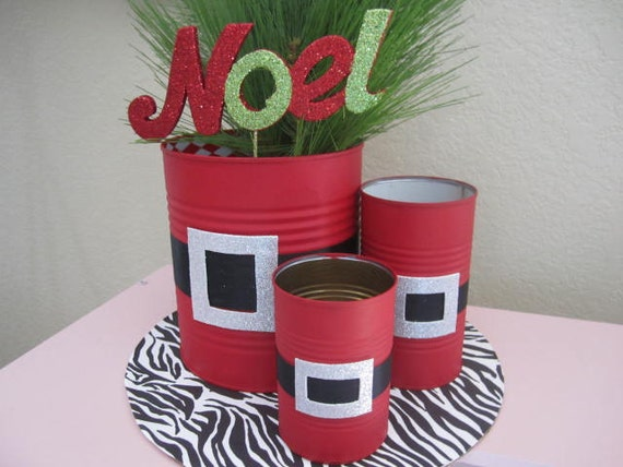 set of 3 santa tin cans decorated with a glittery by