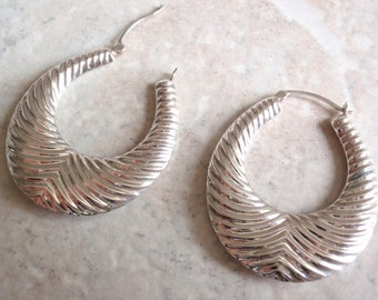Sterling Silver Hoops Large Thin Ribbed Vintage AT0127