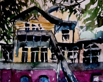 Portrait  house,, 19 x 18 cm. Miniature.  Original watercolor painting.