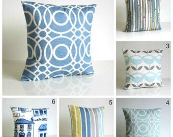 Blue cotton pillow cover, 10x10 Cotton Pillow, Blue Pillow Cover, Blue Cushion Cover, Blue Pillow Sham - Blue Collection