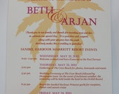 Sunny Palm Tree Wedding Fan Program **Front and Back Sides Fully Customized**