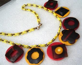 Vintage bakelite & celluloid art deco dangles necklace