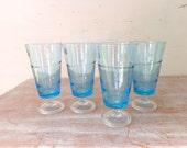 Vintage Handmade Astracolor Glassware  in light blue – Set of 4