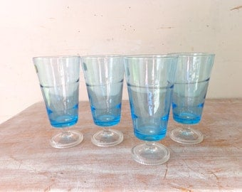 Vintage Handmade Astracolor Glassware  in light blue – Set of 4