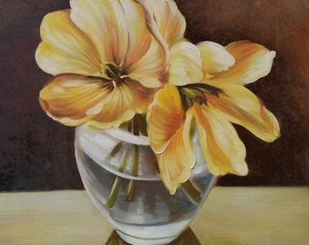 ORIGINAL Oil Painting Songs of my heart 24 x 24 Floral Brush Vase Still life Yellow Golden Green Cream Brown White ART by Marchella