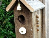 Church Bells - Natural & Rustic Church House Birdhouse, Recycled Materials