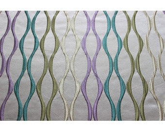Multicolored Waves Curtain Fabric Upholstery Fabric Curtain Panels Drapery Fabric Window Treatment Geometric Fabric