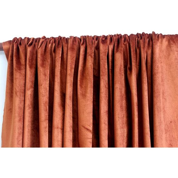 "Rust Velvet Curtain 52""x84"" Rod Pocket Curtain Panel Drapes Home ..."