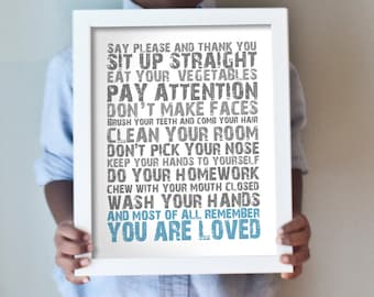 You Are Loved print in blue and gray