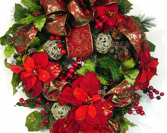 Christmas Joy Prelit door Wreath Burgundy red Gold Victorian Traditional style matching garland available separately by Cabin Cove Creations