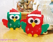 Felt Owl Ornament, Christmas Ornaments, Hand-sewn Christmas Owls ornaments set of 2