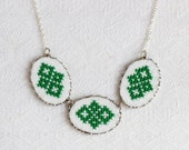 Embroidered necklace with green geometrical ornament - ethnic necklace - Ukrainian embroidery - n010green