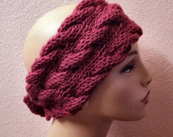 Hand Knit soft Acrylic Raspberry 3 Cable Button Back Headband - Headwrap
