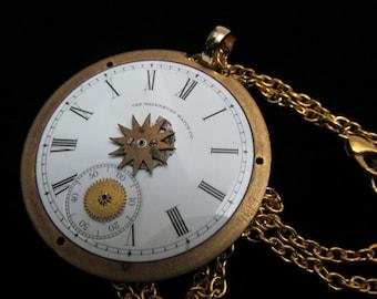 Steampunk Vintage Porcelain Watch Face Necklace Mixed Media Pendant Q 96