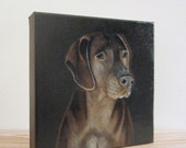Custom Dog Painting Pet Portrait 8x8 Original Art Personalized Puppy Modern Canvas gray black red tile studio
