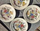 "Vintage May Flower Dinner Plates Vernon Kilns 10.5"" Set of Four Or You Choose"