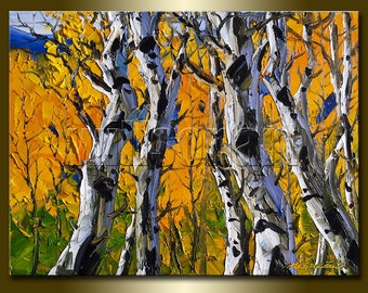 Original Autum Birch Landscape Painting Oil on Canvas Textured Palette Knife Contemporary Modern Tree Art 12X16 by Willson Lau